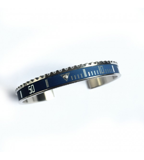 Vintage Matt Classic bracelet, steel, 1 diamond, blue
