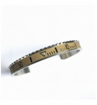 Vintage Matt Classic bracelet, steel, 1 diamond, sand, black numbers