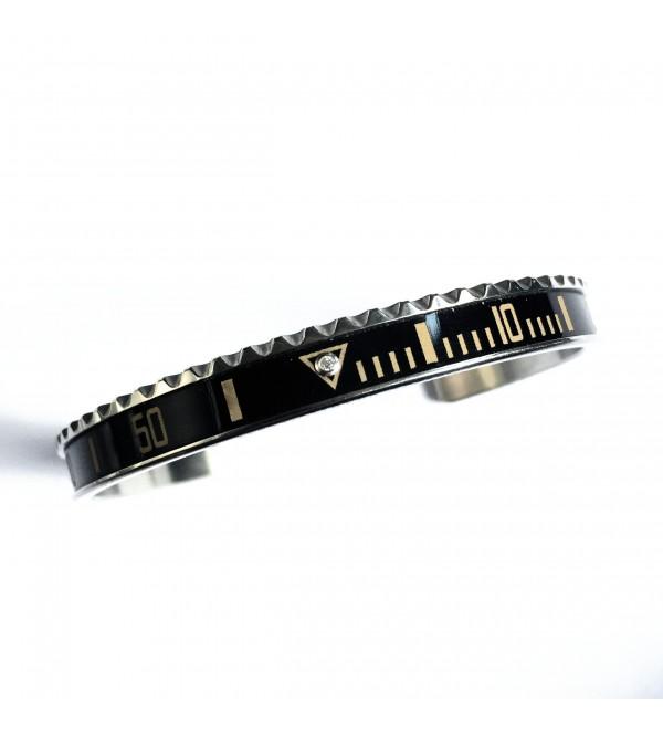Vintage Matt Classic bracelet, steel, 1 diamond, black, sand numbers