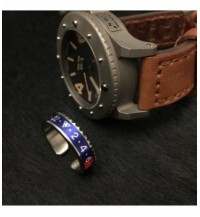 Ring Dual Time, steel, blue / red