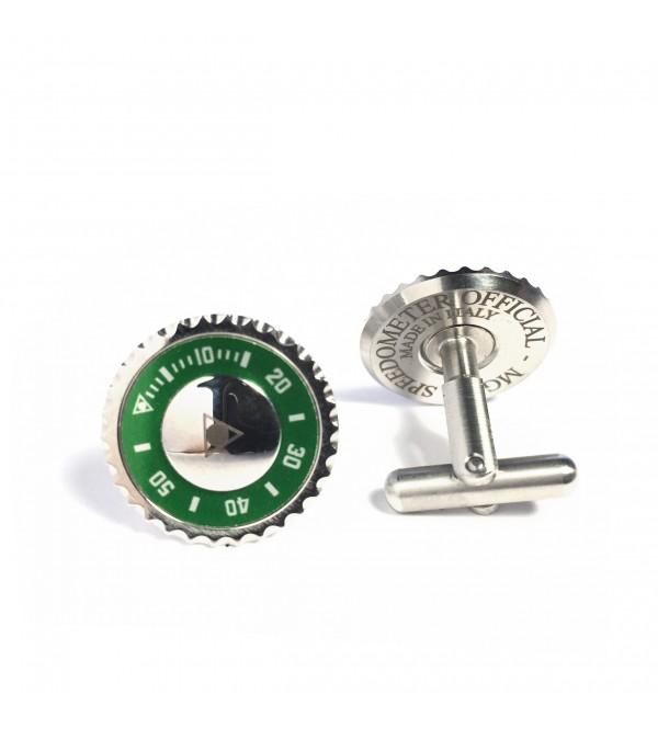 Cufflinks Classic, steel, green