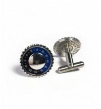 Cufflinks Classic Dual Time, steel, blue / black